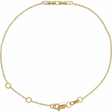 14k Beaded Bar Diamond Bracelet