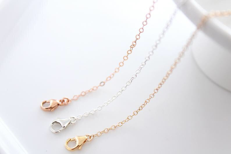 14k Solid Gold Dainty Chain Necklace