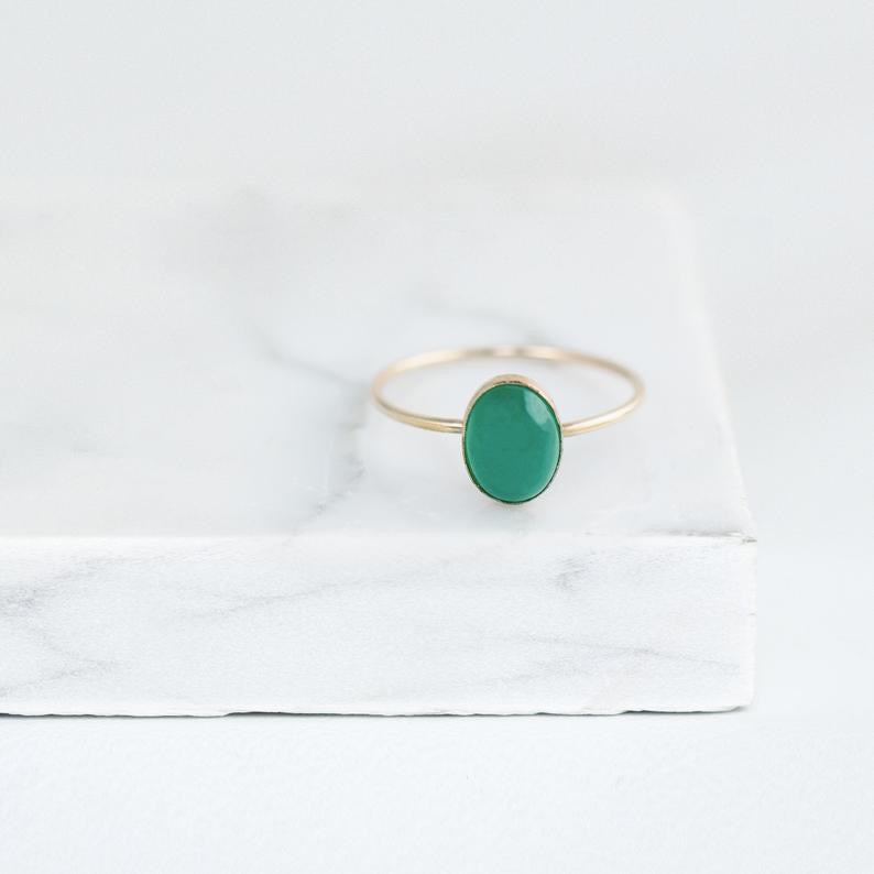 14k Solid Gold Green Onyx Ring