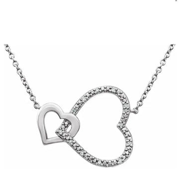 Diamond interlocking heart necklace