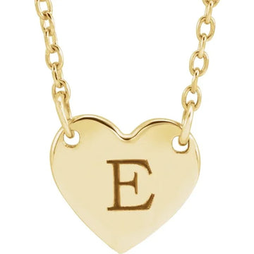 14k One Heart Initial Necklace