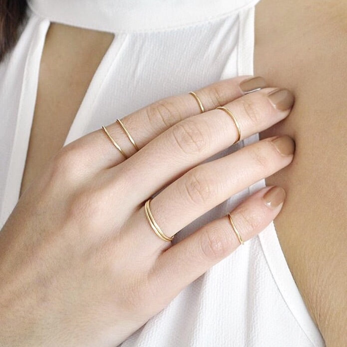 14k Solid Gold Smooth Stacking Ring