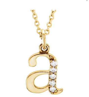 Diamond lowercase Initial Necklace