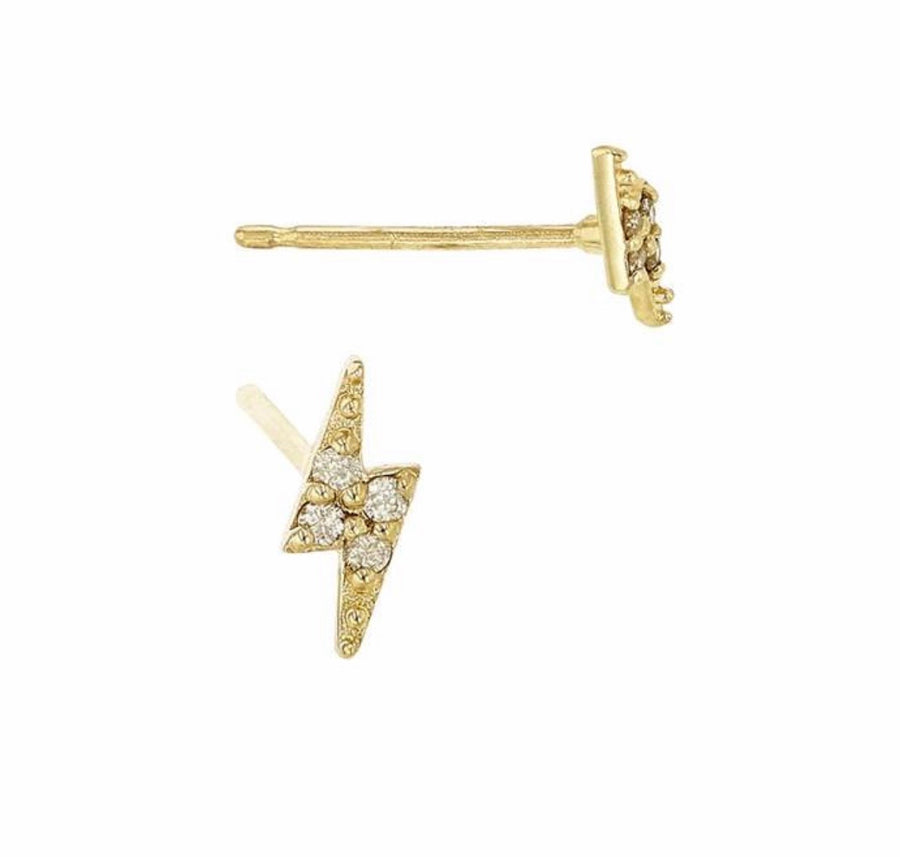 Lightning Bolt Earrings. Diamond Studs