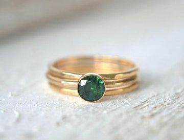 14k Emerald Ring Set Of Three