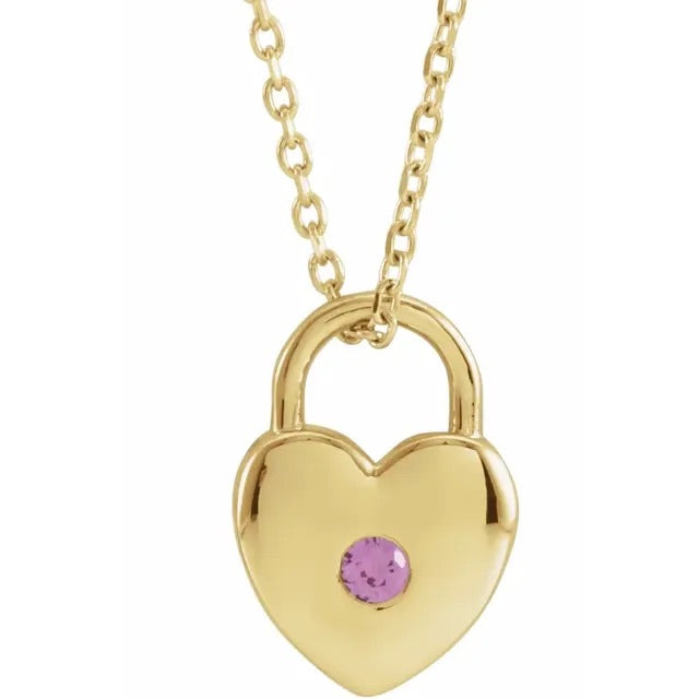 Pink Spinel Heart Locket Necklace