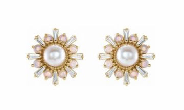 Cultured Pearl Akoya & Opal Diamond Earrings