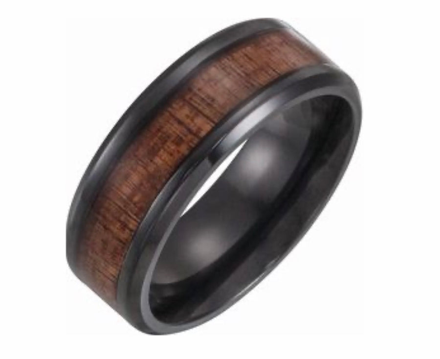 His Wedding Band, Promise Ring For Him- Black Titanium Wood Band
