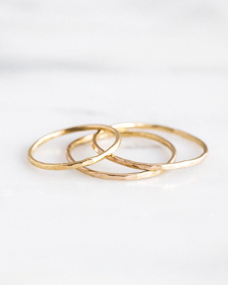 14k Solid Gold Stacking Rings Set