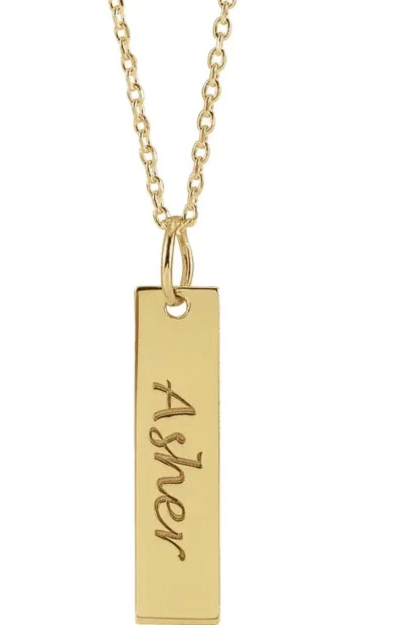 Engraved bar 14k Solid Necklace / Vertical