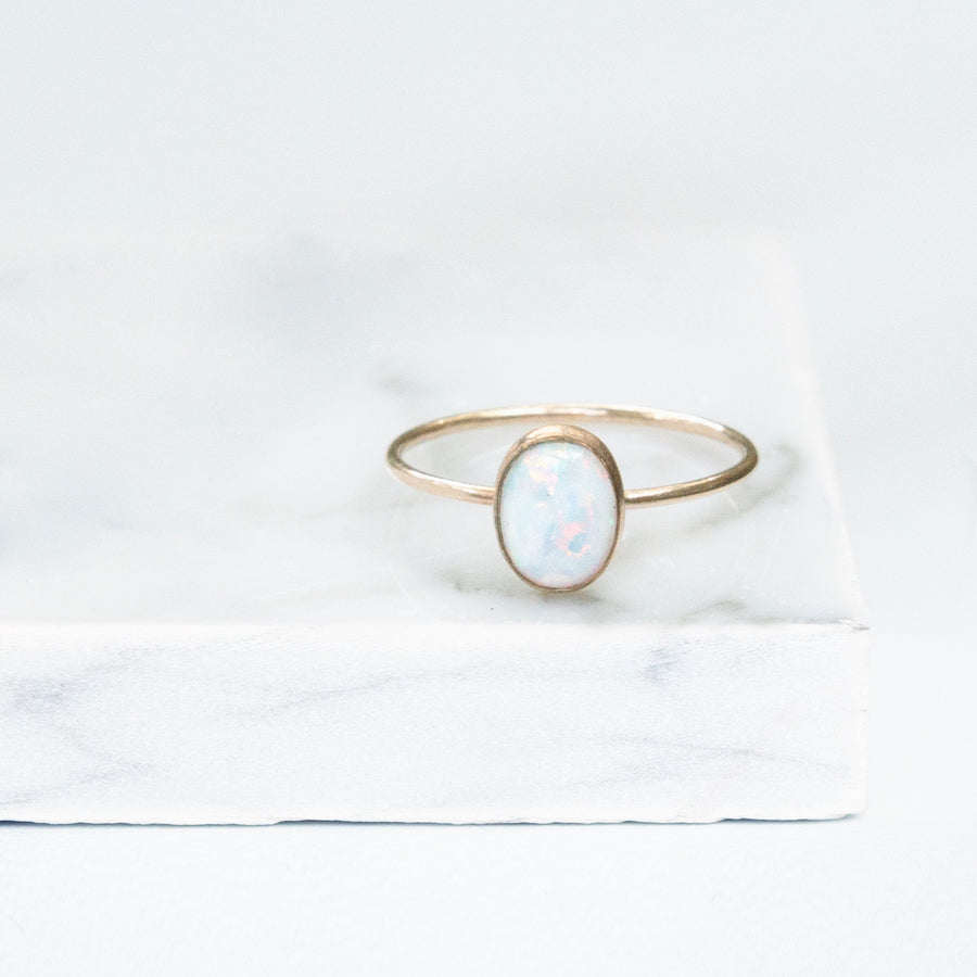 14k Solid Gold Oval Opal Ring
