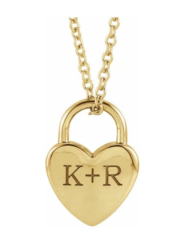 His and Hers Heart Lock Neckalce