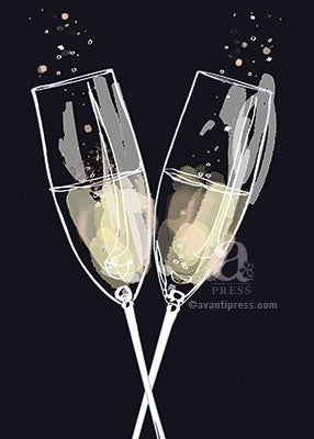 Card - AP/Anniversary - Champagne Flutes