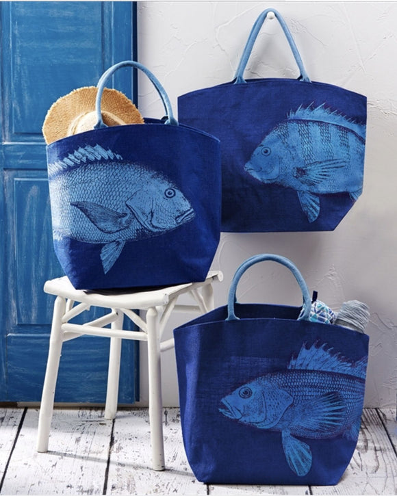 Fish Jute Tote - 3 Assorted