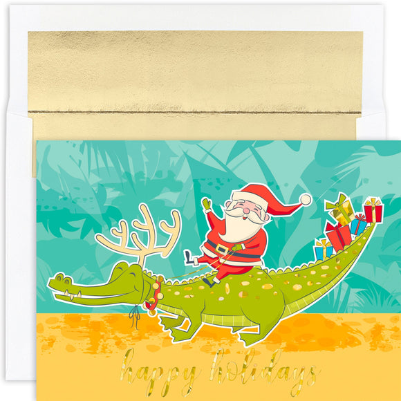 Santa & Gator Boxed Greeting Cards
