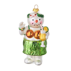 "4.5"" Tropical Snowman Ornament"