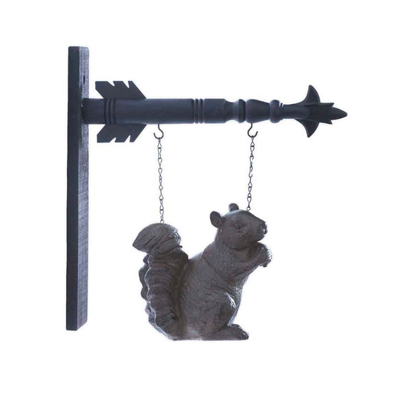 Squirrel with Nut Hanging Sign