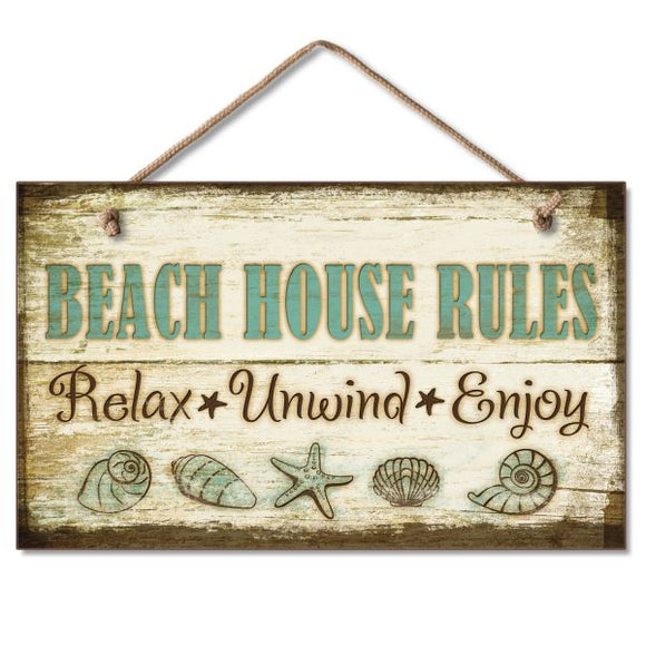 Hanging Sign - Beach House Rules