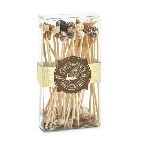 Sea Fare 40 Shell Hors D'Oeuvre Long Picks in Gift Box - Wood/Shell