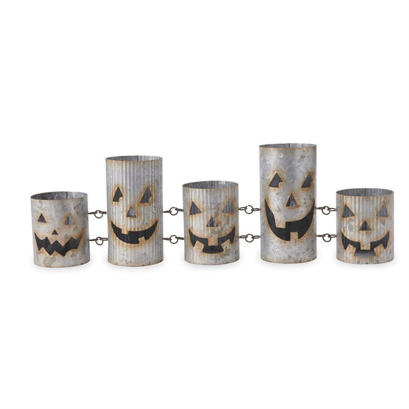Interlocking Tin Jack-O-Lantern Votive Display