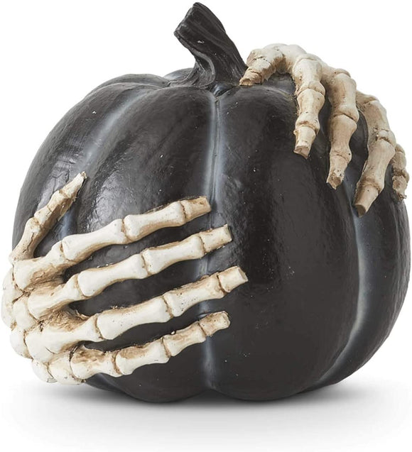 Black Resin Pumpkin with Skeleton Hands