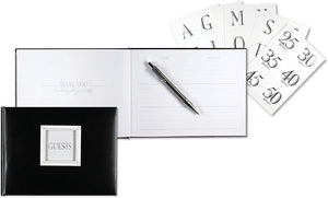 Customizable Guest Book - Black Leather