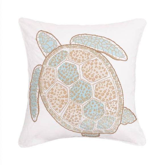 Beaded Amber Sands Turtle Pillow