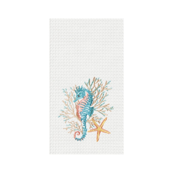 Seahorse & Coral - Waffle Kitchen Towel