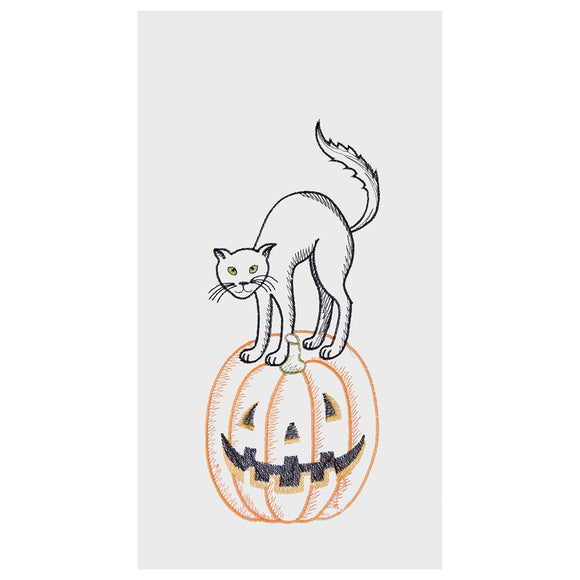 Cat On Pumpkin - Flour Sack Kitchen Towel