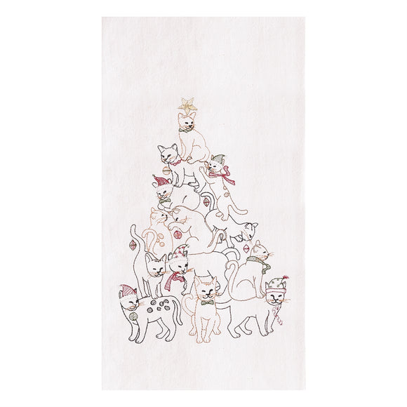 Cat Christmas Tree - Flour Sack Kitchen Towel