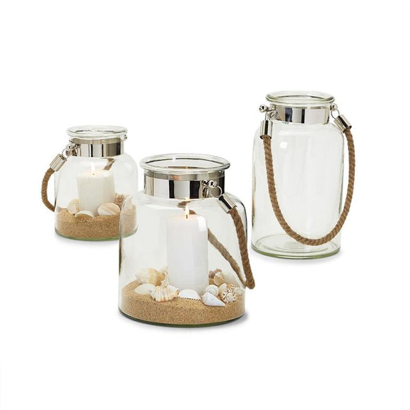 Clear View Lanterns with Rope Handle - 3 Shapes/Sizes - Glass/Nickel Plated Iron/Jute