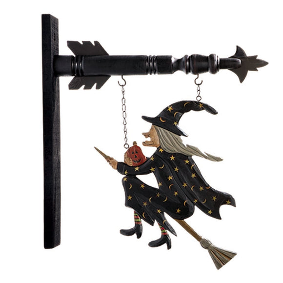 Flying Witch on Broomstick Hanging Sign