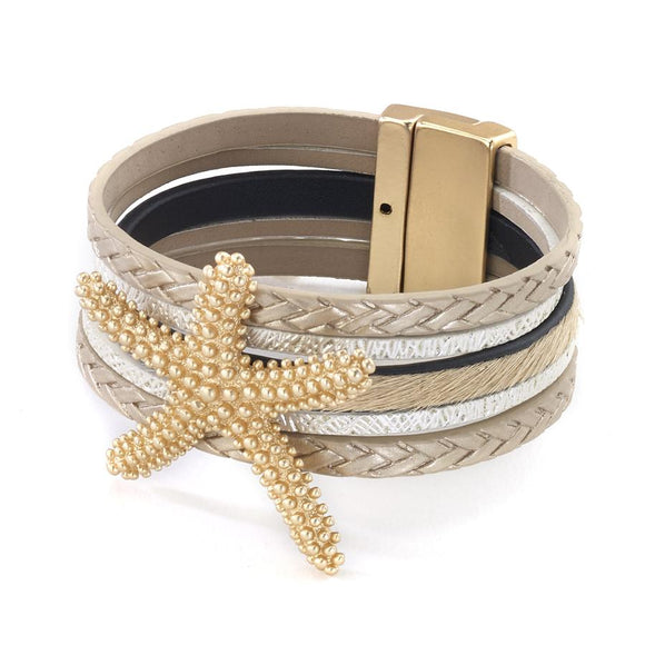 Five Strand Leather Bracelet with Braids and Large Starfish