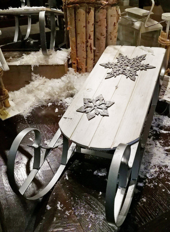 White Wood Sleigh w/Snowflake Cut Outs