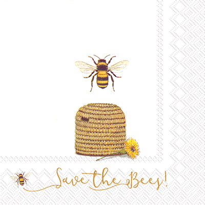 Save The Bees White Luncheon Napkin