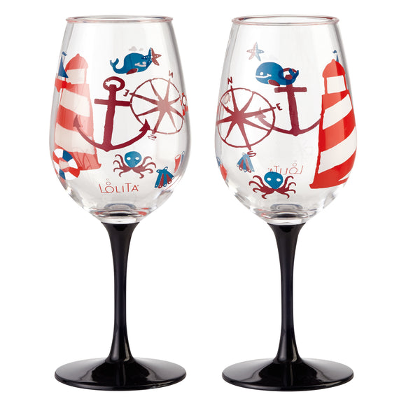 Lolita Acrylic Stemmed Wine Glass (Set of 2) - Maritime