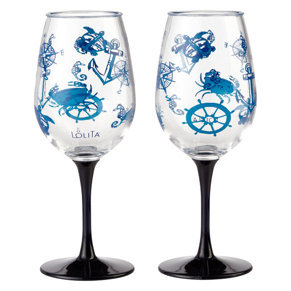 Lolita Acrylic Stemmed Wine Glass (Set of 2) - Set Sail