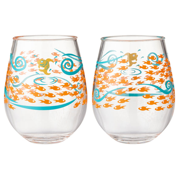 Lolita Acrylic Stemless Wine Glass (Set of 2) - Fish Out of Water