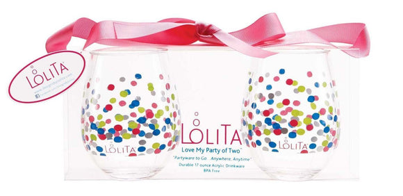Lolita Acrylic Stemless Wine Glass (Set of 2) - Pointelle, Too