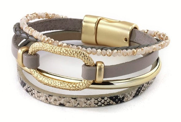 Multi Strand Leather Combo Bracelet with Granulated Link