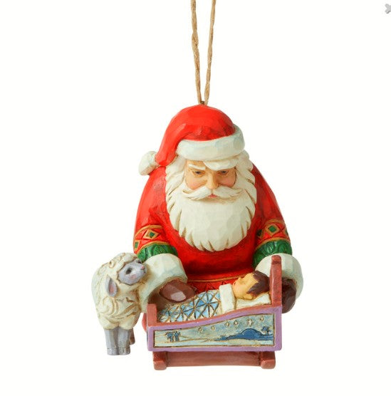 Santa With Baby Jesus Hanging Ornament