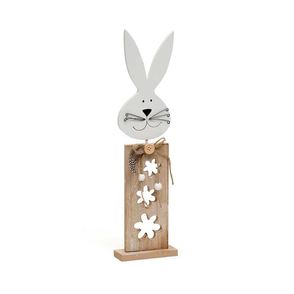 Wood Bunny with Flower Cutouts on Stand