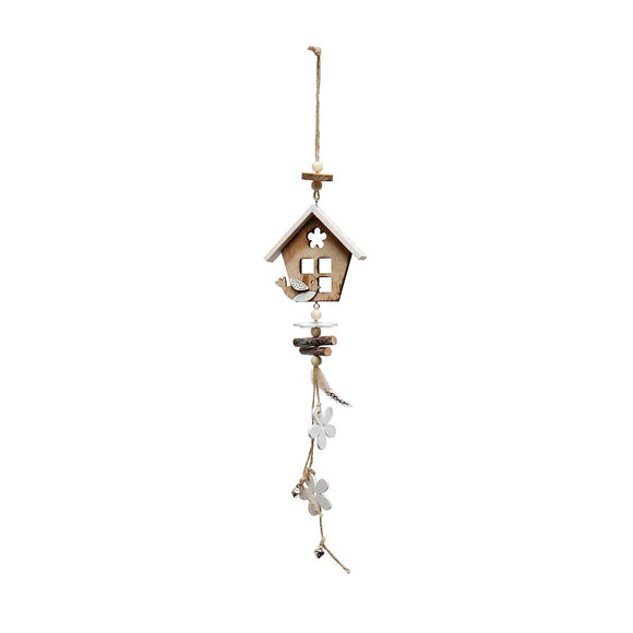 Wood House Dangle Drop with Bird, Flowers and Bell