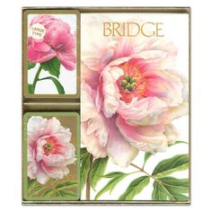 Peonies Bridge Gift Set - 2 Playing Card Decks & 2 Score Pads