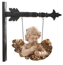 Angel with Trumpet Cherub Hanging Sign
