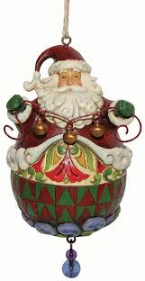 Roly Poly Santa w/Bells Ornament