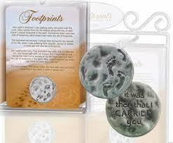 Footprints In The Sand Prayer Card & Pocket Coin