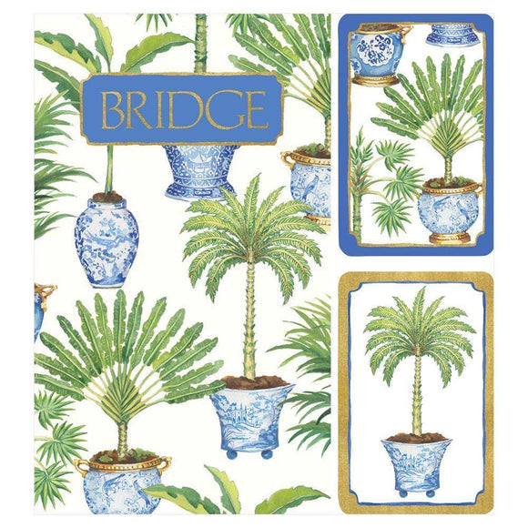Potted Palms Bridge Gift Set - 2 Playing Card Decks & 2 Score Pads