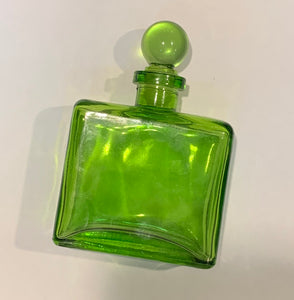 Square Flat Glass Corked Bottle - Green