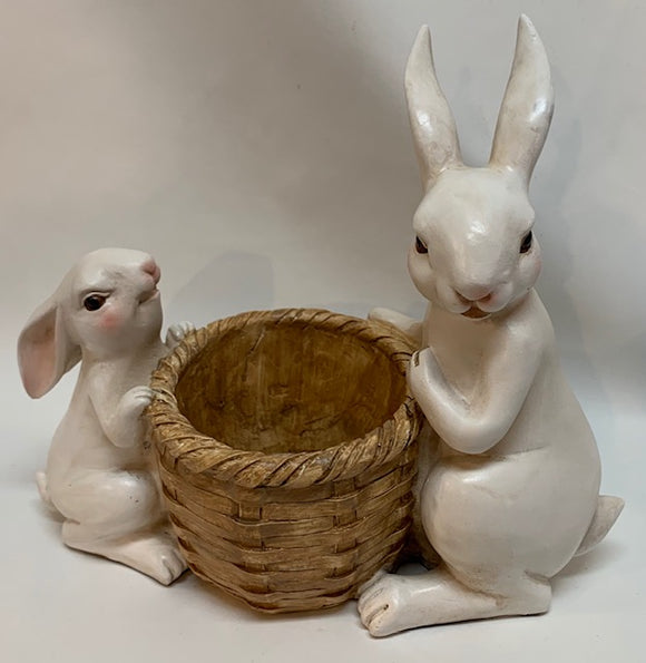 Bunnies w/Basket Planter
